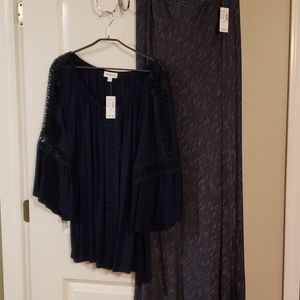 Navy maxi skirt and cold shoulder bell sleeve top